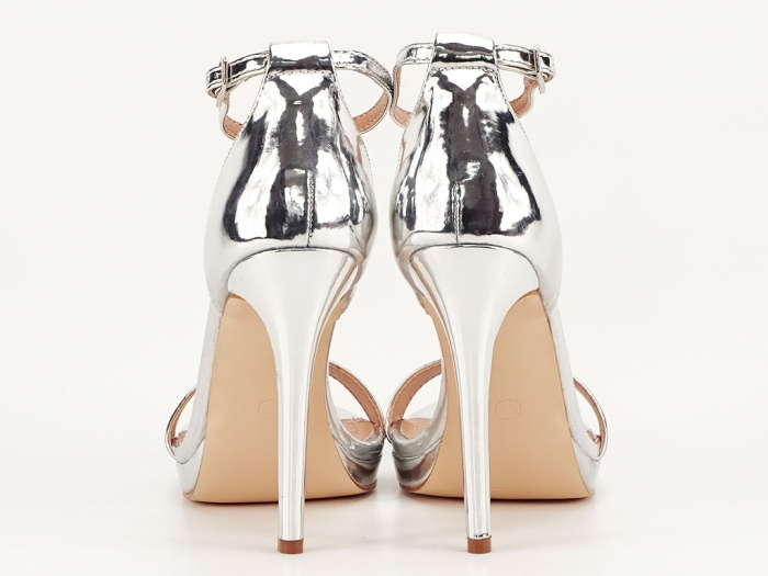 Sandale elegante argintii cu toc inalt Dorothy 3
