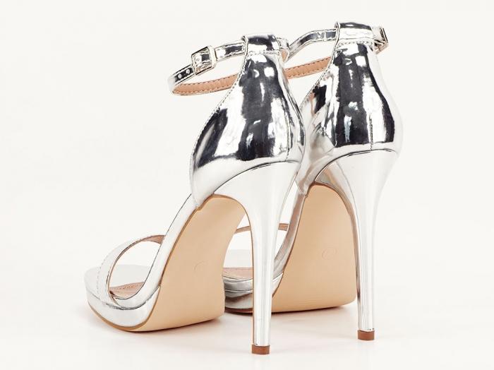 Sandale elegante argintii cu toc inalt Dorothy 4