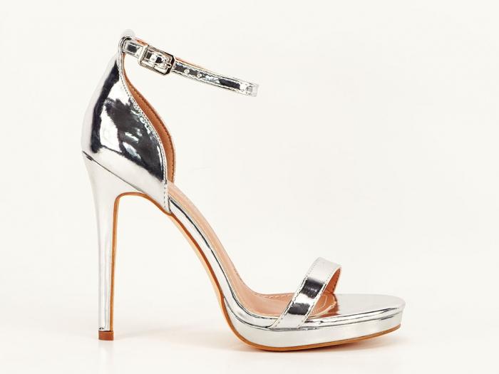 Sandale elegante argintii cu toc inalt Dorothy 7