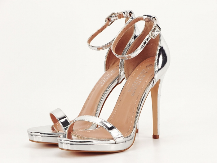 Sandale elegante argintii cu toc inalt Dorothy 5