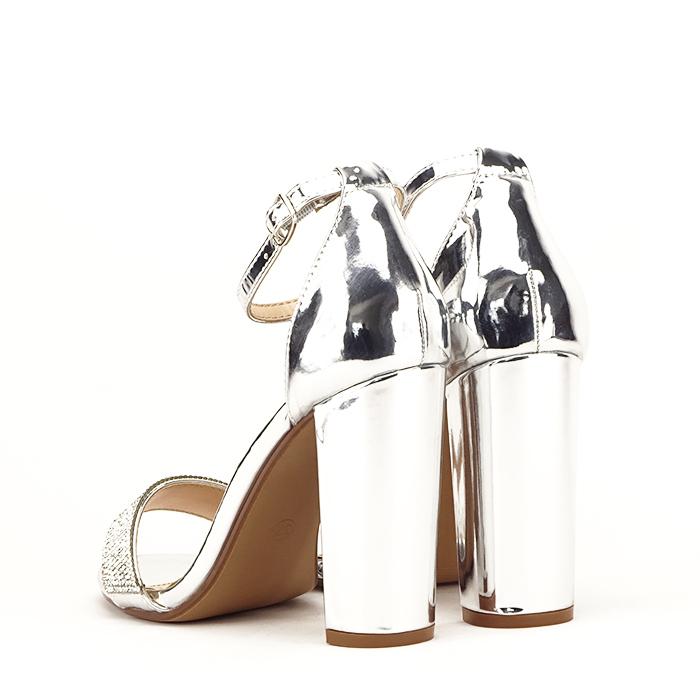 Sandale argintii cu toc gros Diana [3]