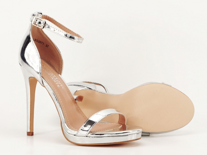 Sandale elegante argintii cu toc inalt Dorothy 6