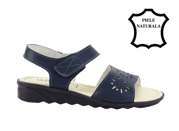 Sandale bleumarin din piele naturala Catis 2