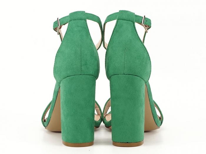 Sandale verzi cu toc gros si bareta subtire Mathilde 2 4