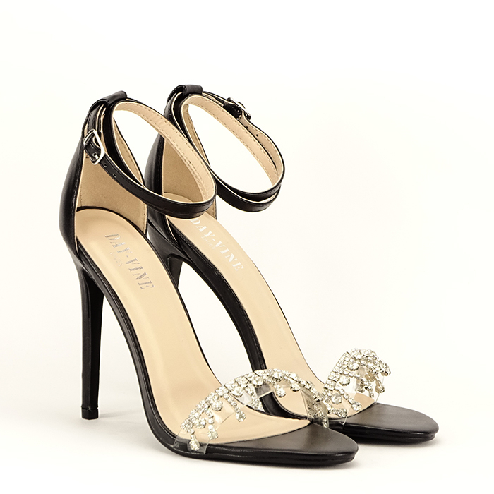 Sandale negre cu toc subtire Angelica 2