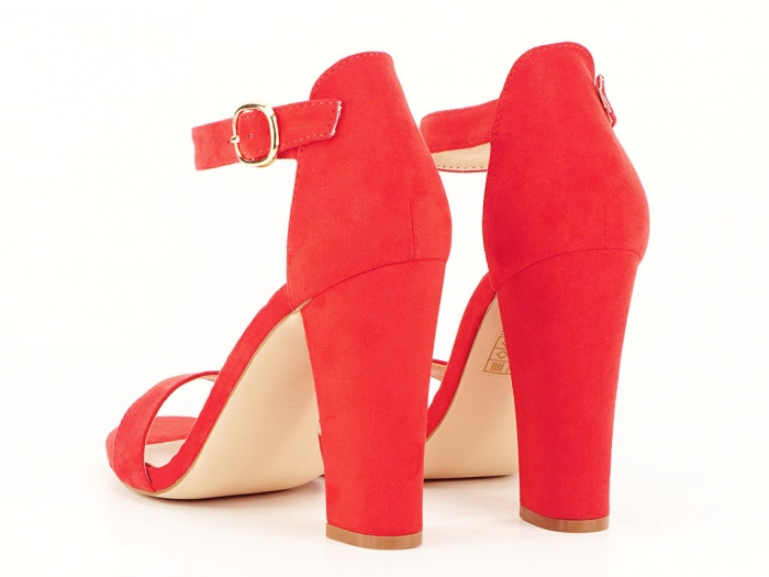 Sandale dama rosii cu toc gros si bareta Patricia 7