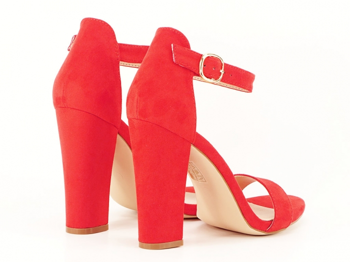 Sandale dama rosii cu toc gros si bareta Patricia 3