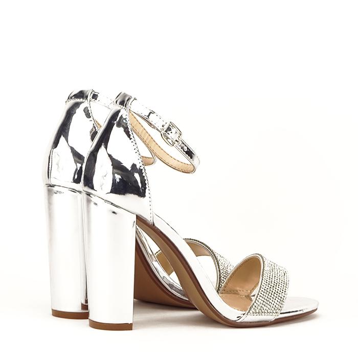 Sandale argintii cu toc gros Diana [4]