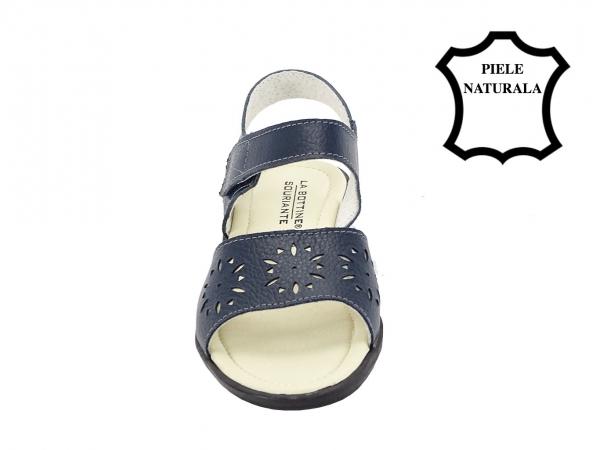 Sandale bleumarin din piele naturala Catis 4