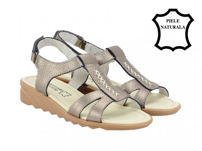 Sandale argint vechi din piele naturala Silvia 2