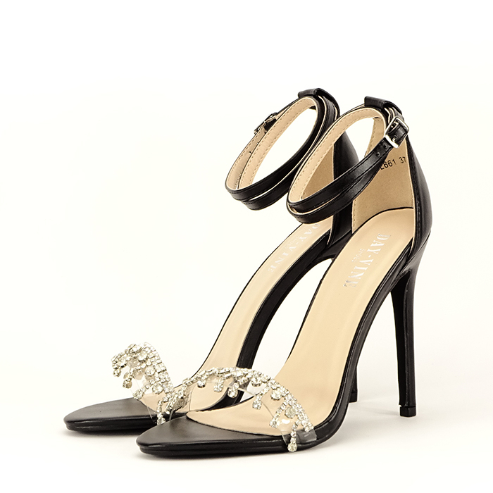 Sandale negre cu toc subtire Angelica 1