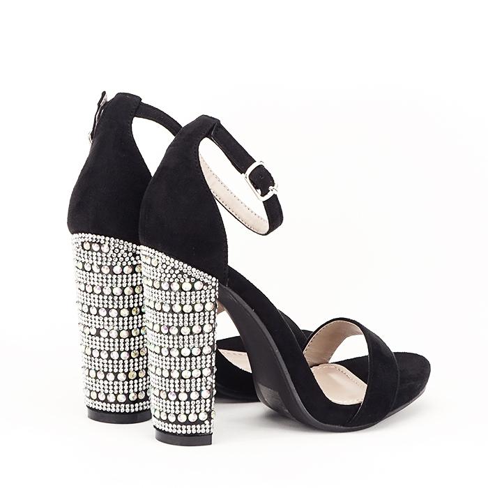 Sandale negre cu pietricele pe toc Cleopatra [3]