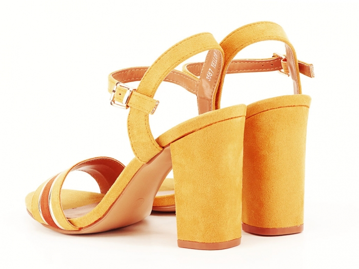 Sandale dama galbene cu toc gros Iris 3