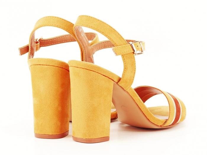 Sandale dama galbene cu toc gros Iris 4
