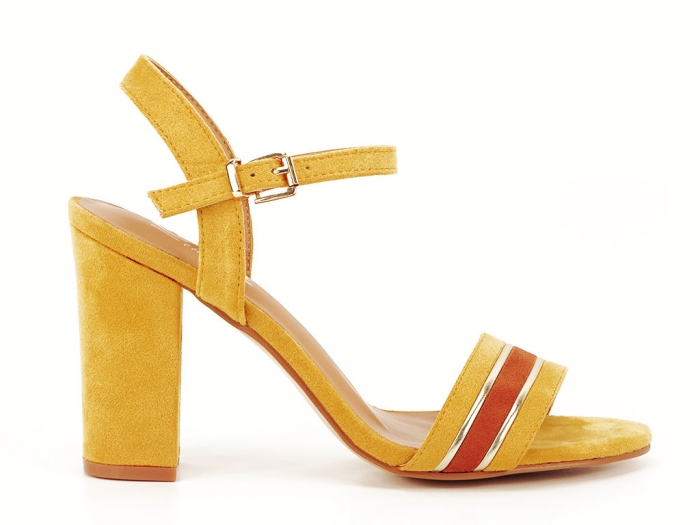 Sandale dama galbene cu toc gros Iris 1
