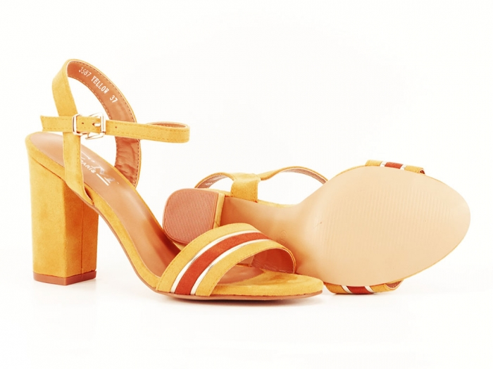 Sandale dama galbene cu toc gros Iris 5