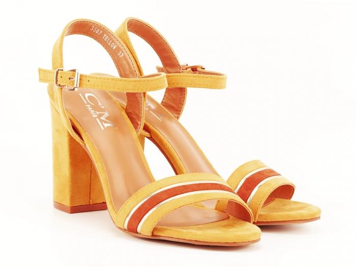 Sandale dama galbene cu toc gros Iris 2