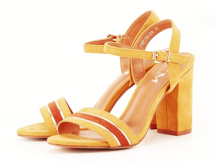 Sandale dama galbene cu toc gros Iris 7