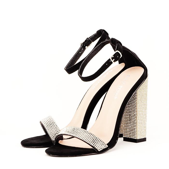 Sandale negre cu pietricele Agness 2