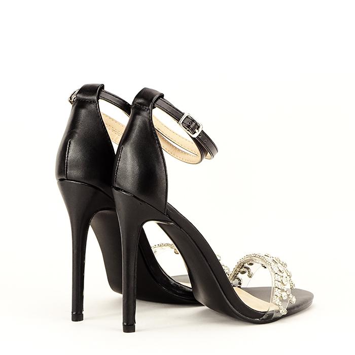 Sandale negre cu toc subtire Angelica 3