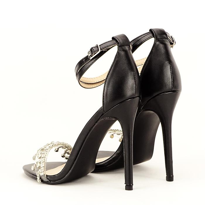 Sandale negre cu toc subtire Angelica 4