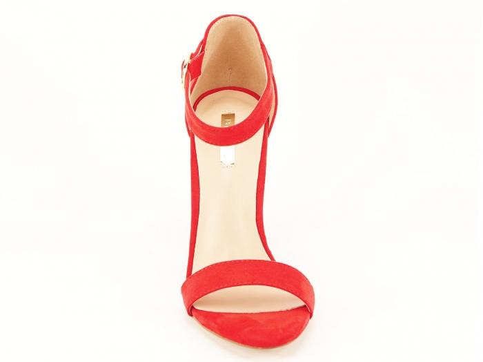 Sandale dama rosii cu toc gros si bareta Patricia 4