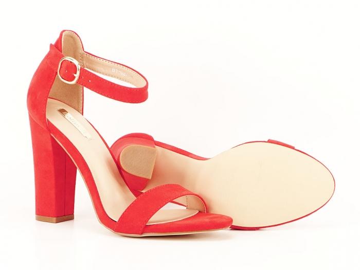 Sandale dama rosii cu toc gros si bareta Patricia 5