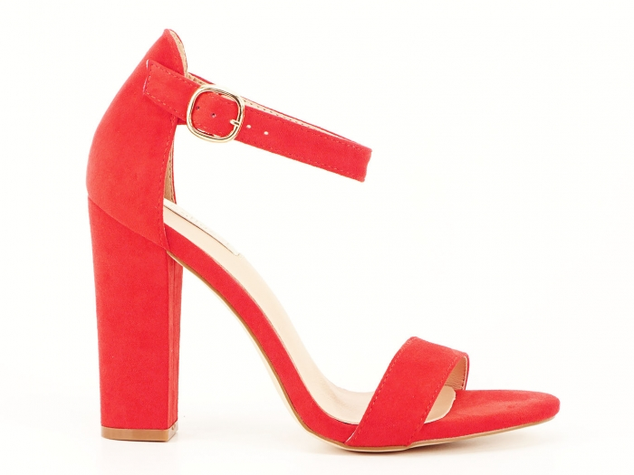 Sandale dama rosii cu toc gros si bareta Patricia 2