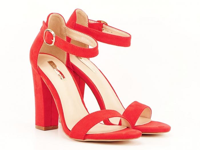 Sandale dama rosii cu toc gros si bareta Patricia 1