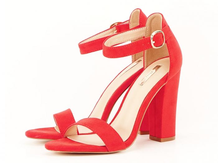 Sandale dama rosii cu toc gros si bareta Patricia 0