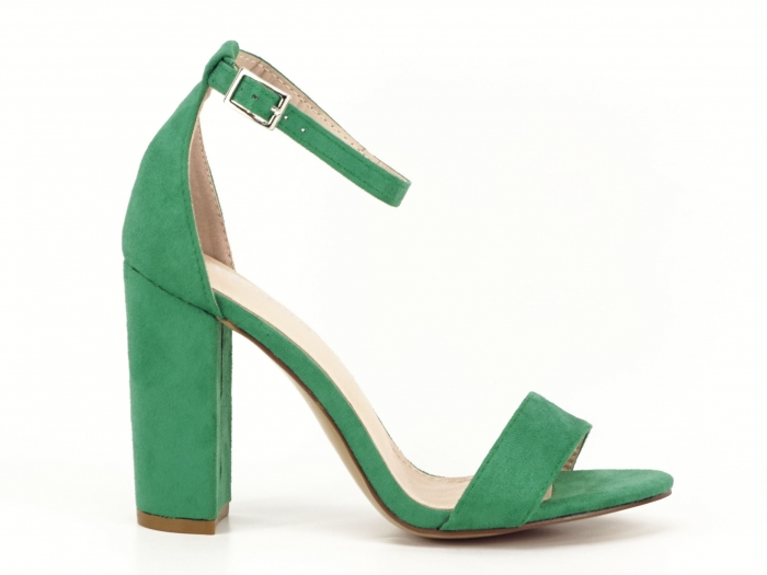 Sandale verzi cu toc gros si bareta subtire Mathilde 2 1