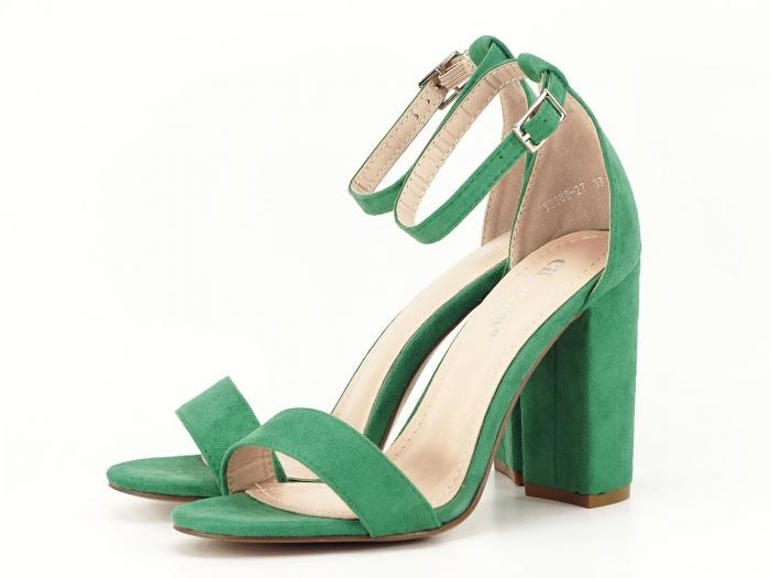 Sandale verzi cu toc gros si bareta subtire Mathilde 2 0