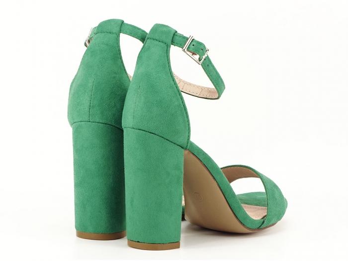 Sandale verzi cu toc gros si bareta subtire Mathilde 2 2