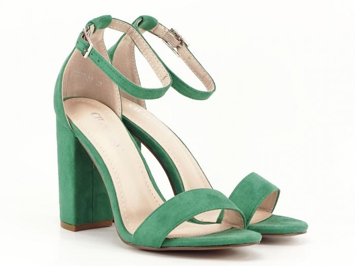 Sandale verzi cu toc gros si bareta subtire Mathilde 2 3