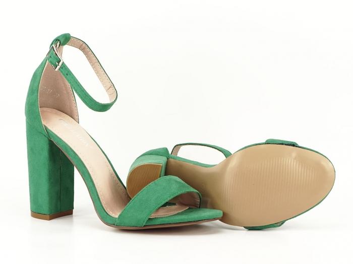 Sandale verzi cu toc gros si bareta subtire Mathilde 2 5