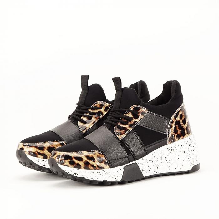 Sneakers negri cu talpa alba Limana 1