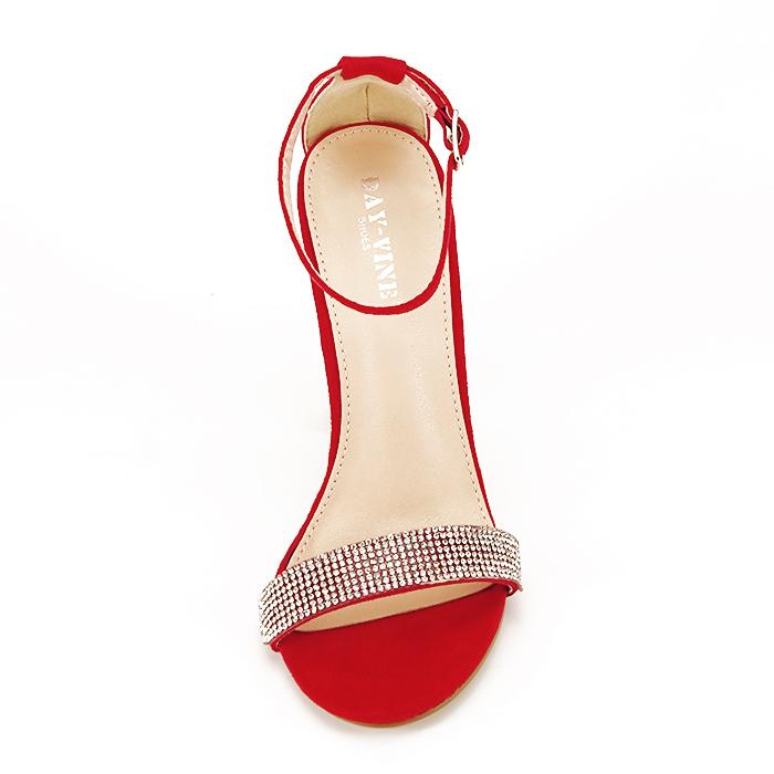 Sandale rosii cu pietricele Agness 5