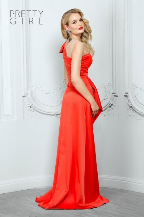 Rochie lunga eleganta rosie din tafta Tatiana 1