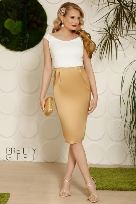Rochie midi eleganta din saten auriu cu alb Kate 0