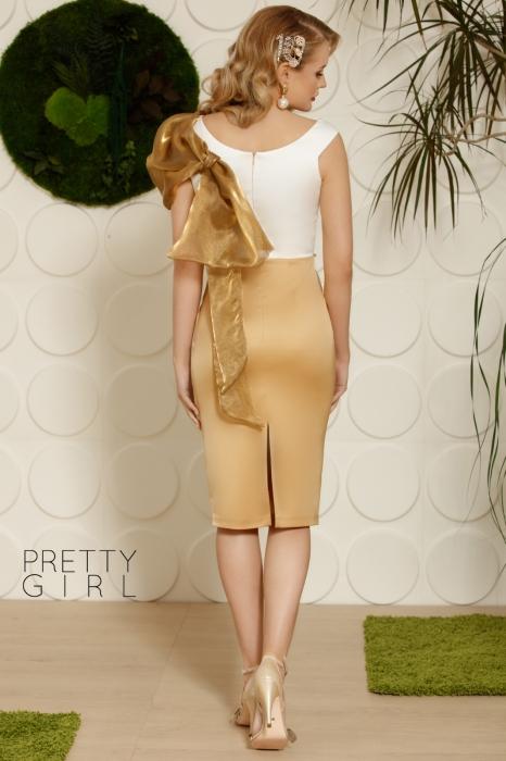 Rochie midi eleganta din saten auriu cu alb Kate 1
