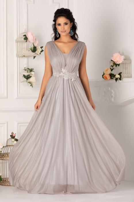 Rochie lunga eleganta argintie Zaira 0