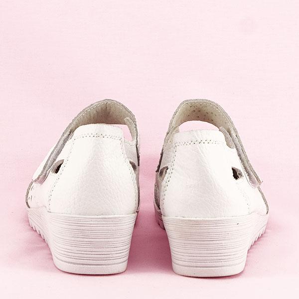Balerini piele naturala Corina albi [6]