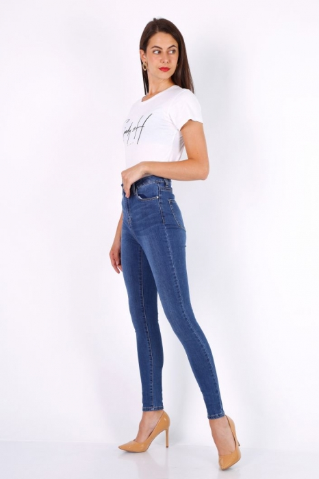Pantaloni din denim albastri cu talie inalta Ina 2