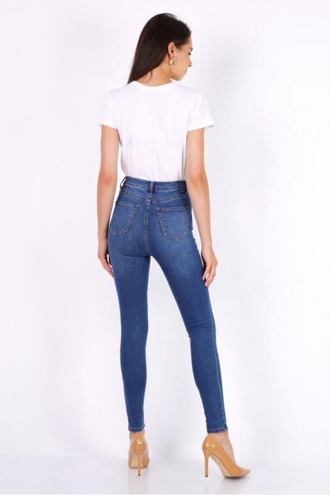 Pantaloni din denim albastri cu talie inalta Ina 3