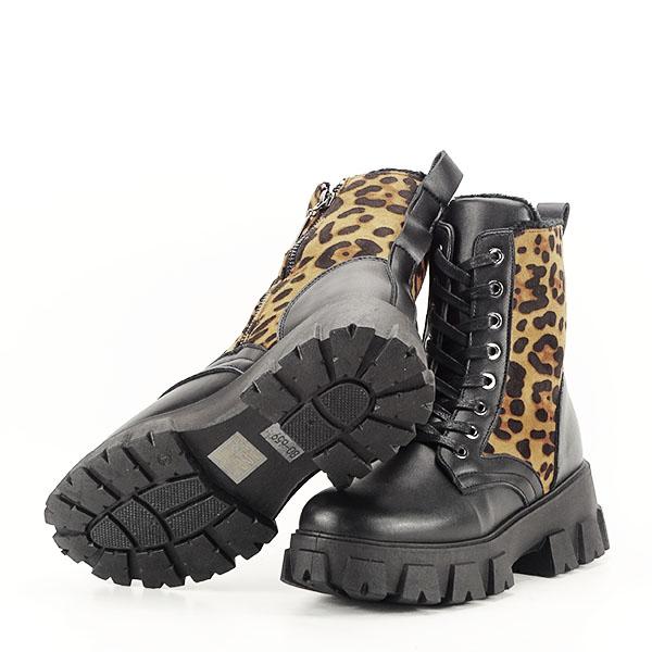 Bocanci negri cu imprimeu leopard si buzunar Bethania [7]