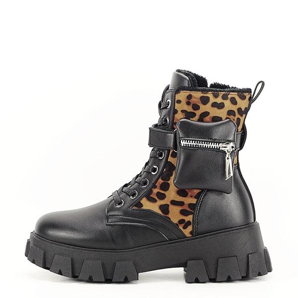 Bocanci negri cu imprimeu leopard si buzunar Bethania [0]