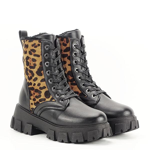 Bocanci negri cu imprimeu leopard si buzunar Bethania [3]