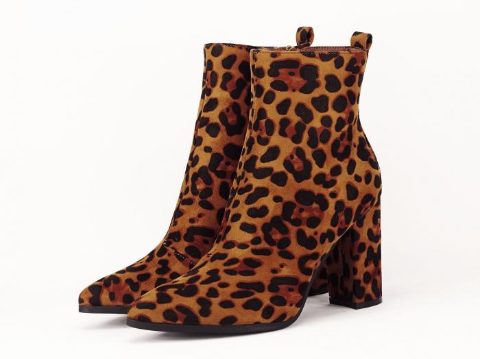 Botine cu imprimeu leopard si toc gros Inna 1