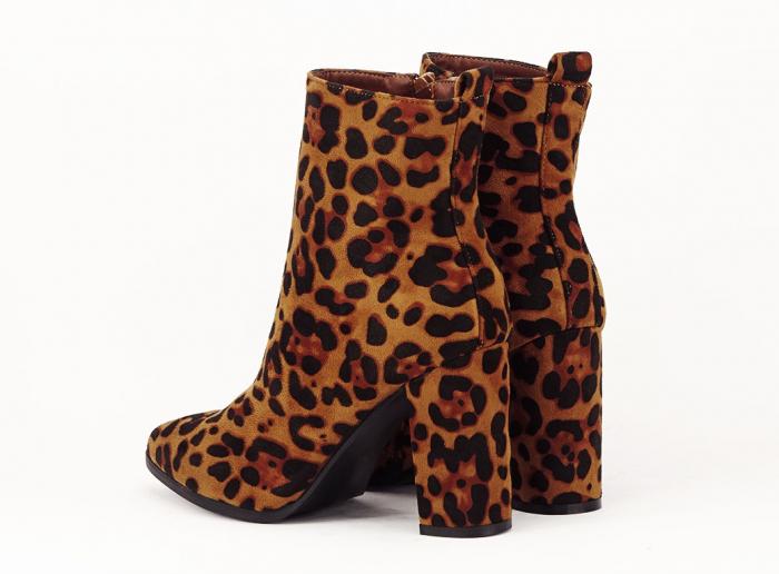 Botine cu imprimeu leopard si toc gros Inna 6