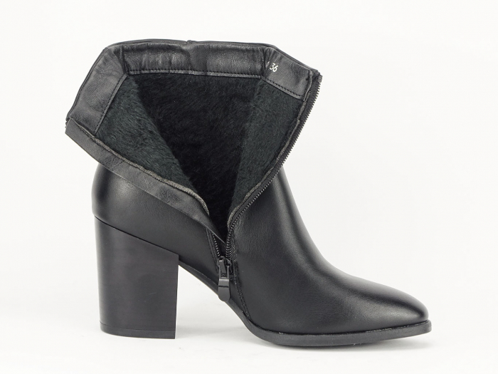 Botine negre elegante cu toc mediu Olivia 5